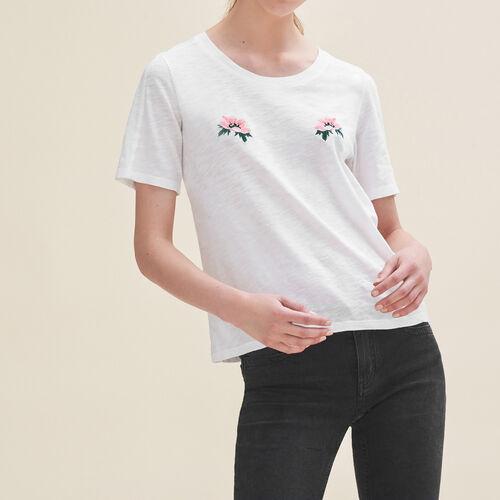 T-Shirt mit Stickereien : T-shirts farbe Ecru