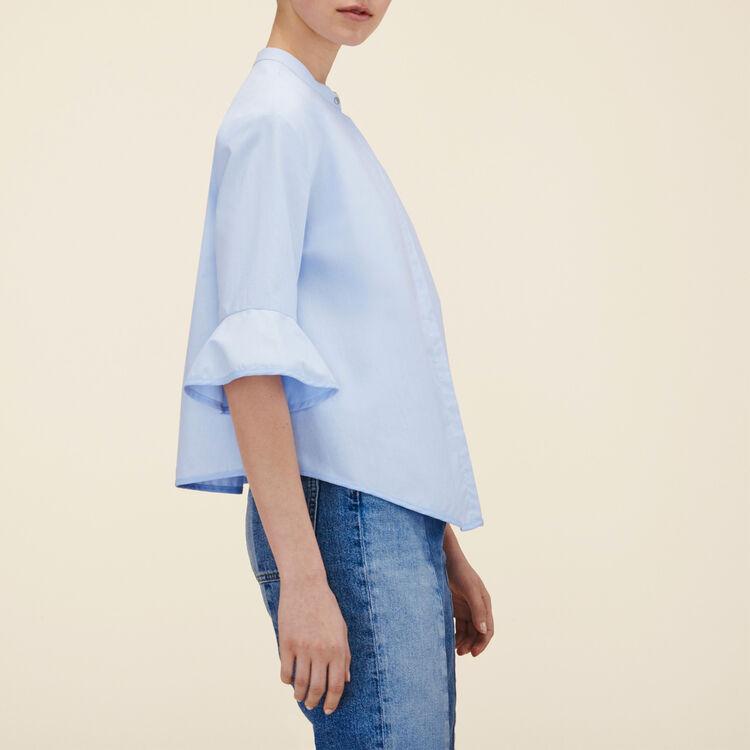 Gestreiftes Hemd aus Popeline : Hemden farbe Himmelblau