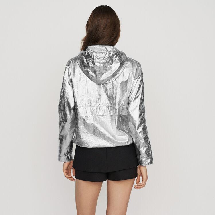 Winddichter Kapuzenmantel : Jacken farbe Silber