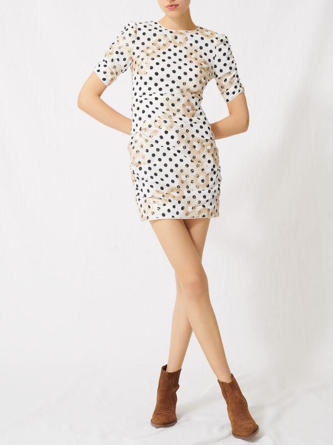 Gepunktetes Kleid mit Pailletten - Kleider - MAJE