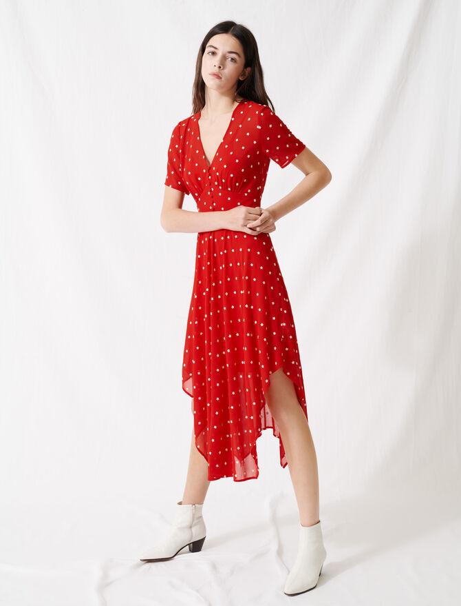 Langes Kleid aus besticktem Musselin - Kleider - MAJE