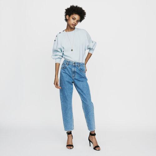 Breite Jeans mit Used Details : Jeans farbe Denim