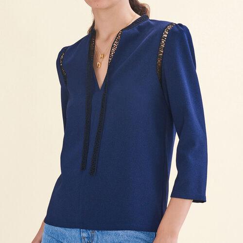 Bluse mit Borte : Tops farbe Nachtblau