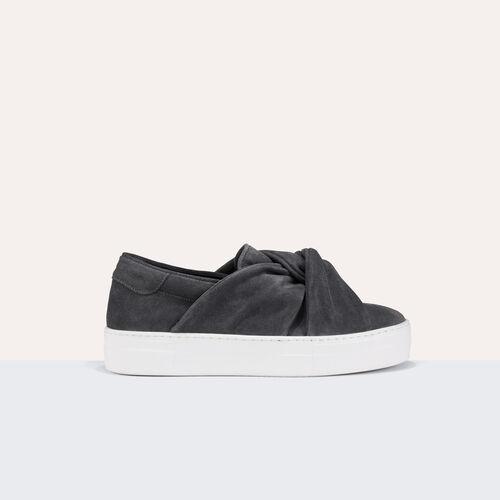 Sneaker aus veloursleder mit schleife : Schuhe farbe Grau