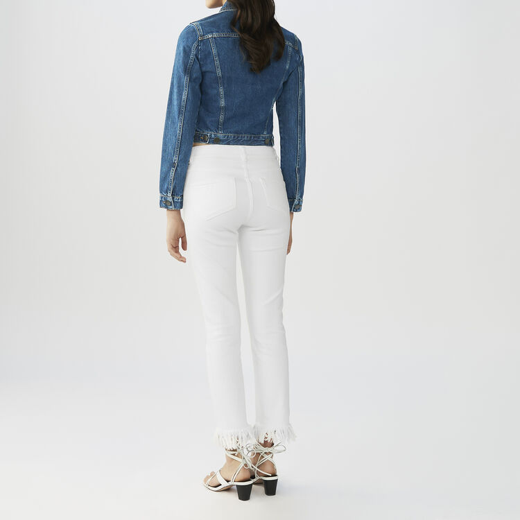 Jumpsuit aus Krepp : Jeans farbe Weiss