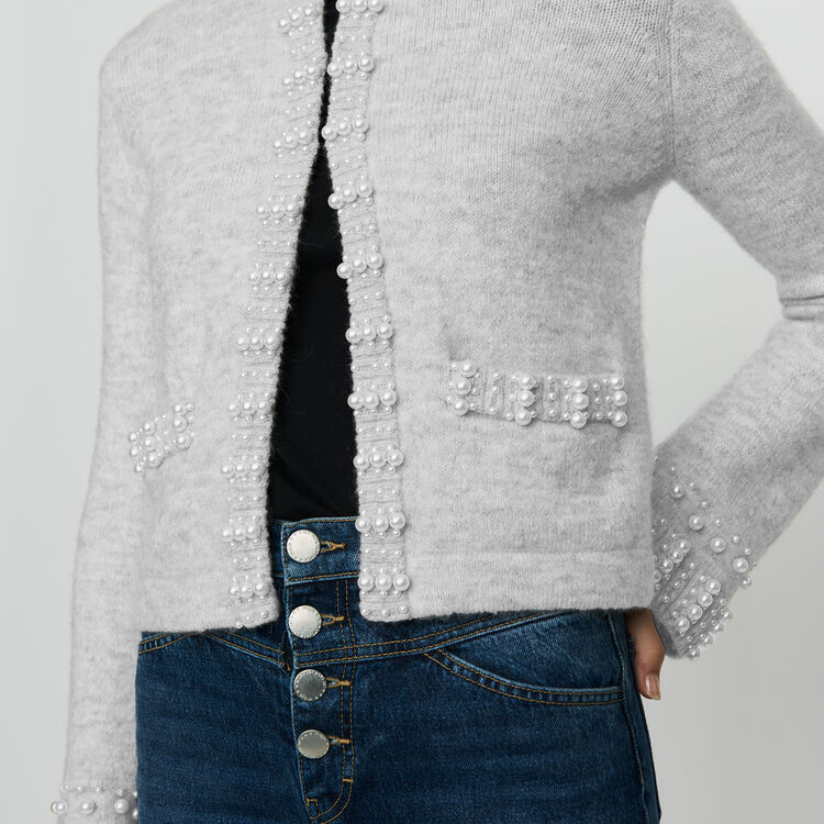Cardigan aus Mischwolle mit Perlen : Strickwaren farbe Grau