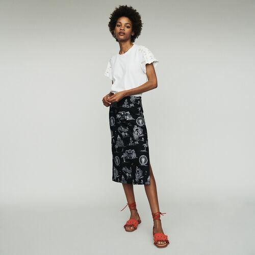 Midi Rock aus Krepp mit Stickereien : Röcke & Shorts farbe Schwarz