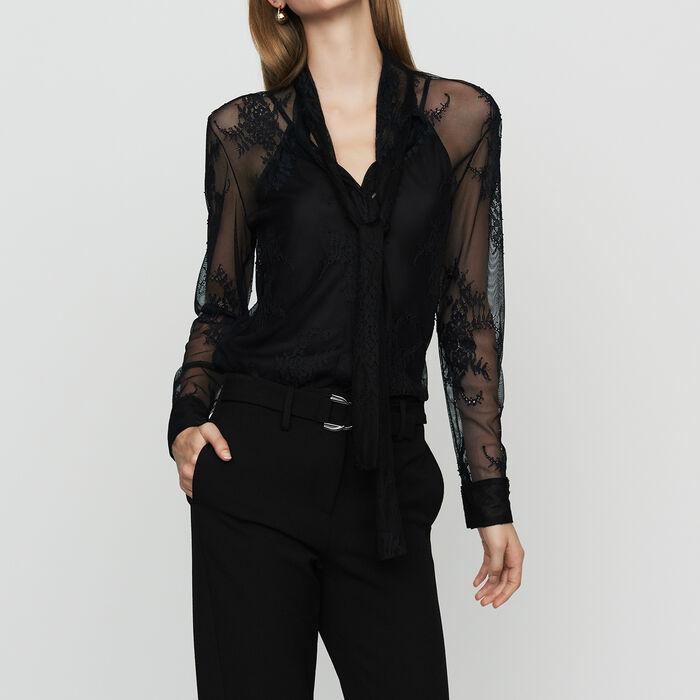 Lavallière-Hemd aus Spitze : Hemden farbe Schwarz