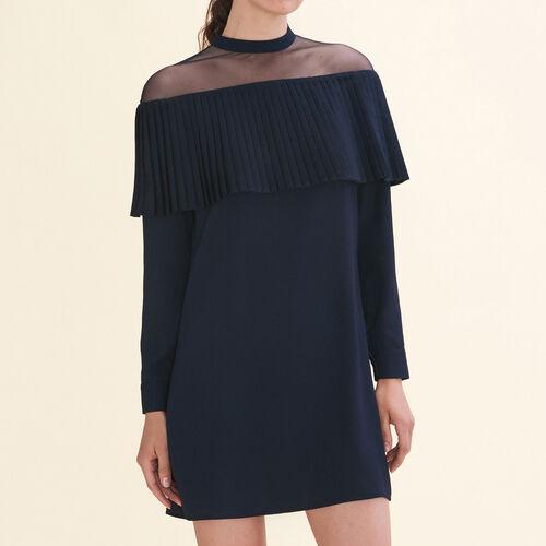 Kleid mit plissierter Rüsche aus Krepp : Robes farbe Marineblau