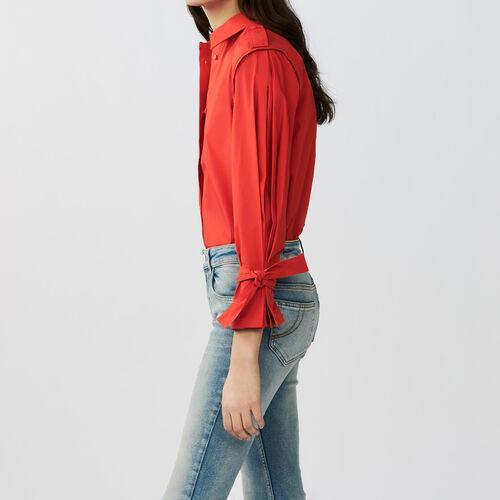 Hemdbluse aus baumwolle : Hemden farbe Rot