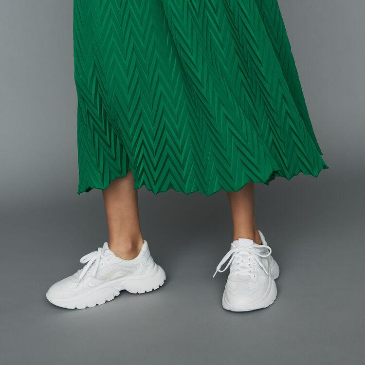 Langer Faltenrock mit Fischgrätenmuster : Röcke & Shorts farbe VERT
