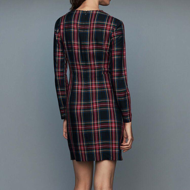Drapiertes Karo-Kleid : Kleider farbe CARREAUX