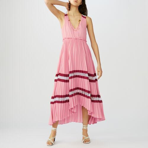 Langes Plissee-Kleid aus Krepp : Kleider farbe Mehrfarbigen