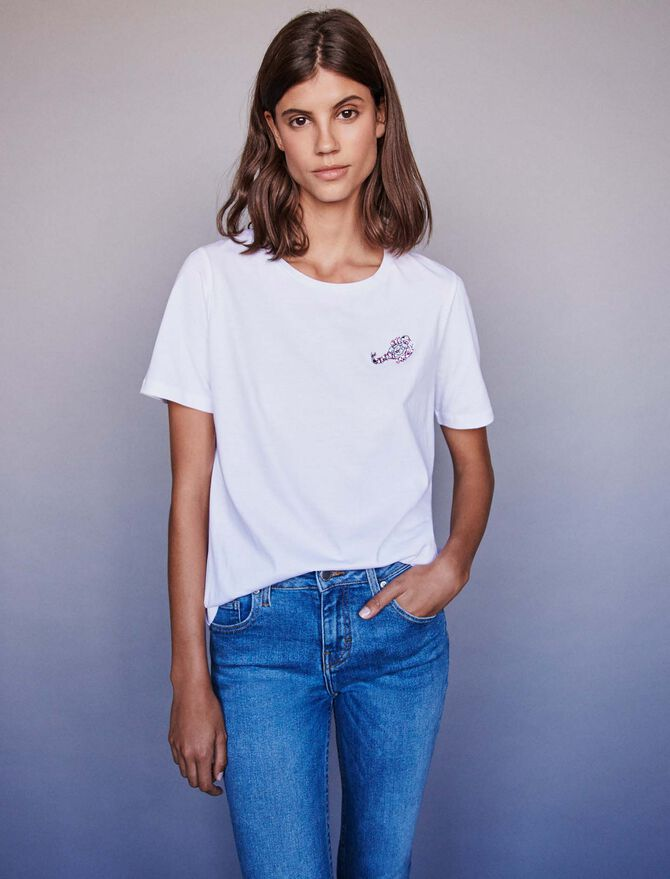 Besticktes Baumwoll T-Shirt mit Strass - Die ganze Kollektion - MAJE