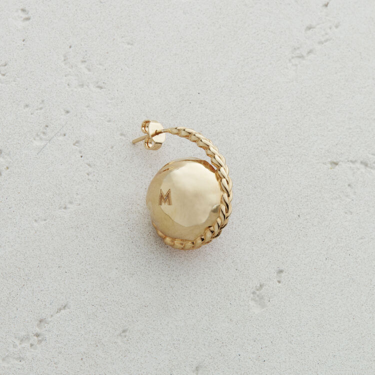 Linker Ohrring mit Natursteinkugel : Schmuck farbe Antik Silber