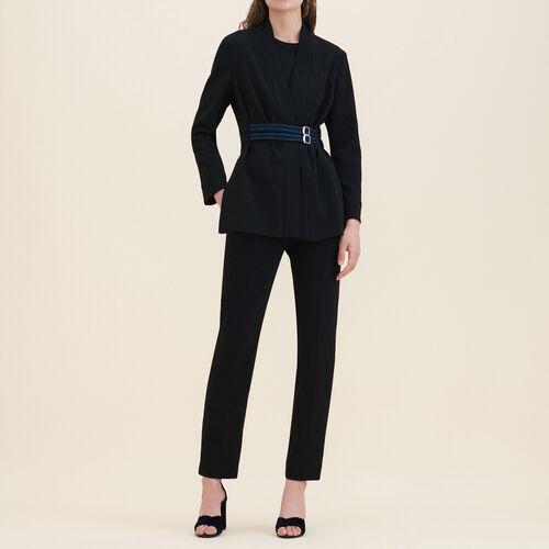 Kimono-Jacke aus Crêpe : Jacken und Blousons farbe Schwarz