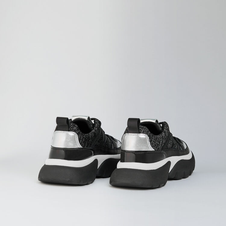 W20 leather and lurex sneakers : Sneakers farbe Schwarz Lurex Silber