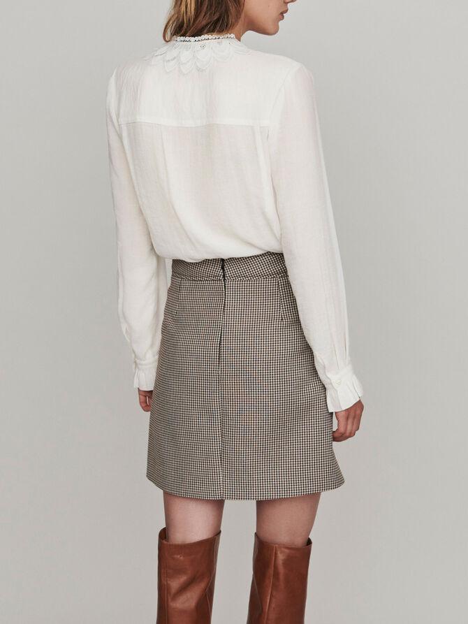 Guipure Bluse mit Samtgürtel - Tops & Hemden - MAJE