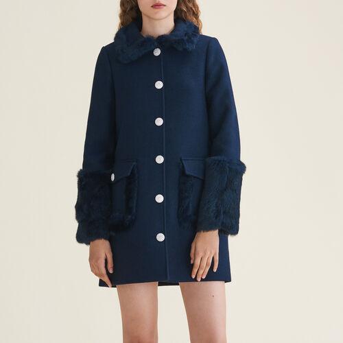 Gerader Mantel aus Wollmix und Kaninchen : Manteaux farbe Blau