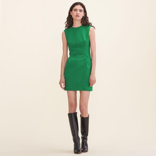 Ärmelloses Kleid aus Crêpe : Robes farbe Grün