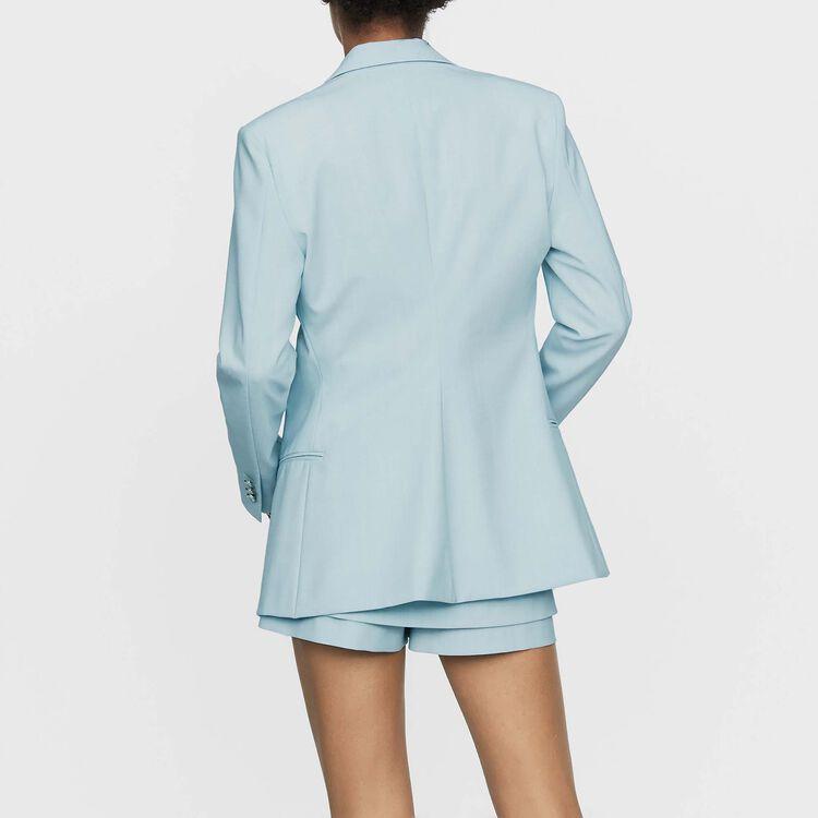 Langer Blazer aus Mischwolle : Blazers farbe Himmelblau