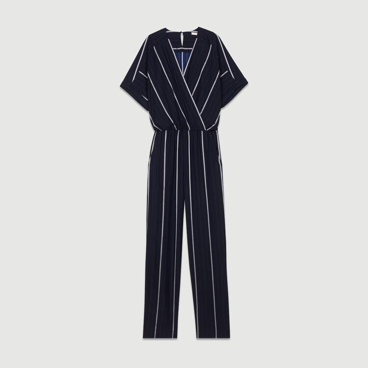 Gestreifter Hosen-Overall : Hosen farbe Marineblau