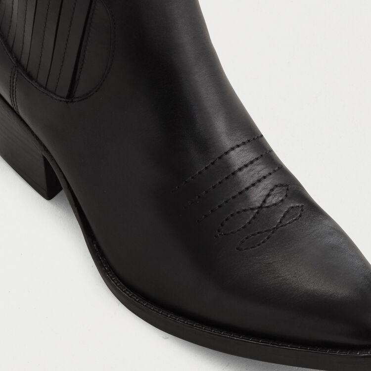 Bottines en cuir à découpes western : Stiefel farbe Schwarz