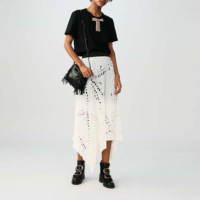 Langes Kleid mit perforierten Falten : Röcke & Shorts farbe Weiss