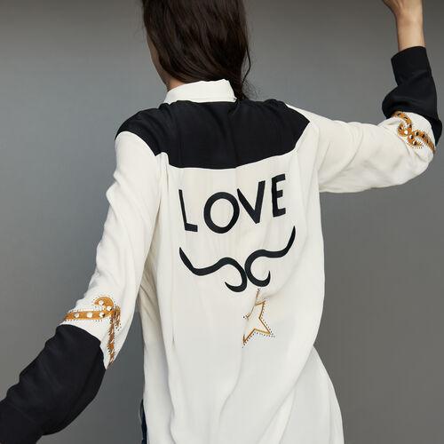 Lange Bluse im Western-Stil : Hemden farbe ECRU