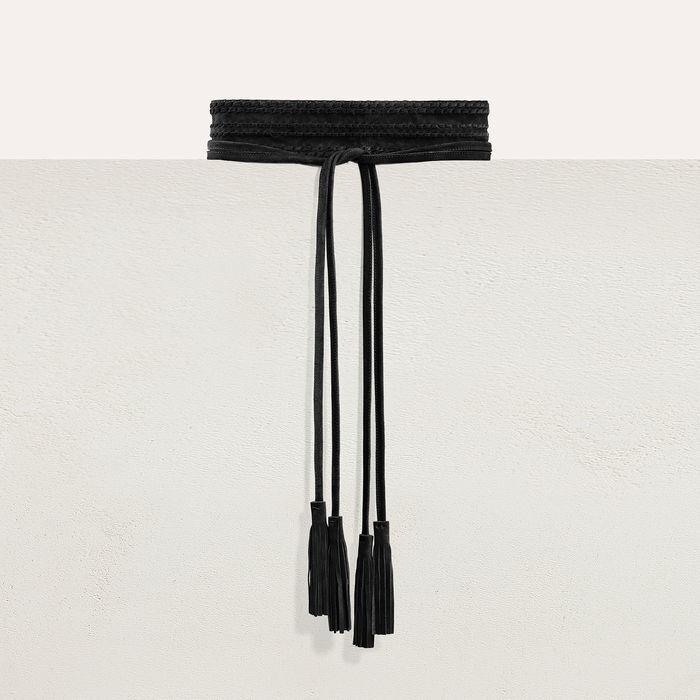 Breiter Wildledergürtel zum Knoten, : Gürtel farbe Schwarz