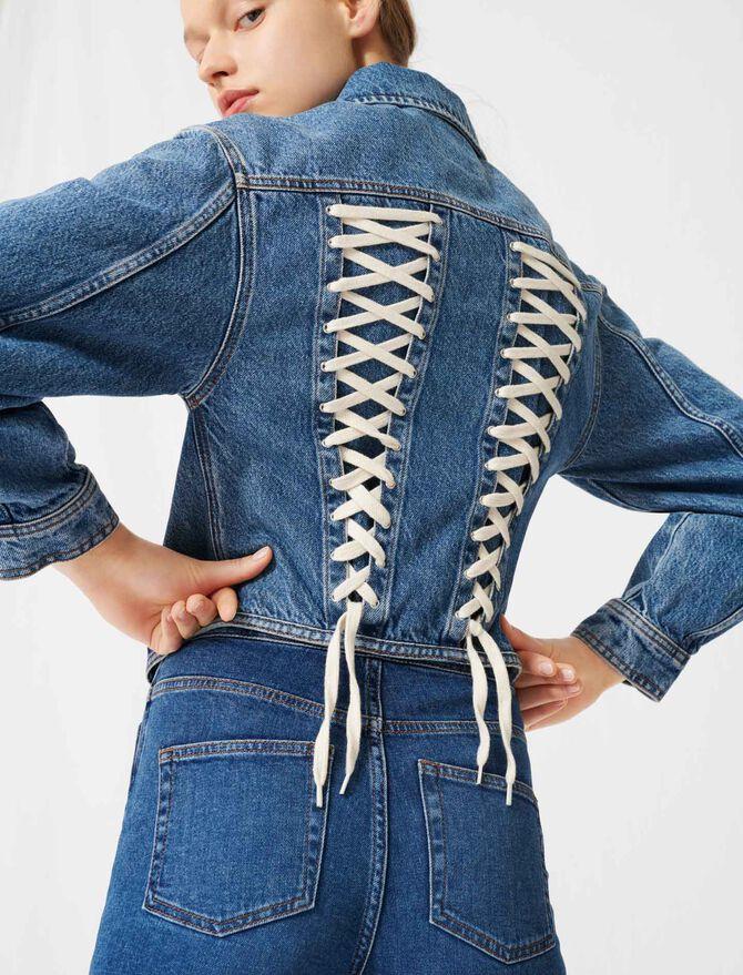 Jeansjacke mit Korsettschnürung hinten - Mäntel & Jacken - MAJE