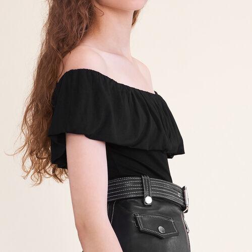 Ärmelloser Body mit Rüschen : T-shirts farbe Schwarz