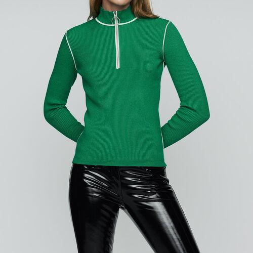 Pullover mit Truckerkragen : Strickwaren farbe Grün