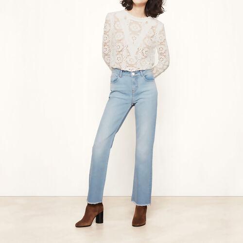 Slim Jeans mit ausgefranstem Finish : Hosen und Jeans farbe Blau