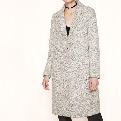 Langer Mantel aus Bouclé-Gewebe : Mäntel farbe Verspottetes Grau