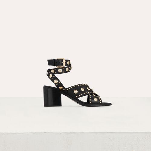 Leder Sandalen mit verzierten Studs : Pumps farbe Schwarz