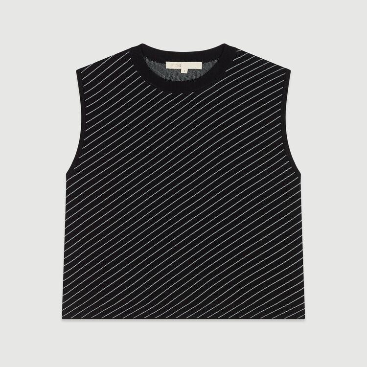Kurzärmeliger Pullover mit Streifen : Strickwaren farbe Gestreift