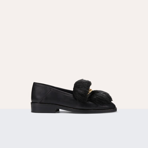 Mokassins aus Leder mit abnehmbarem Fell : Accessoires farbe Schwarz