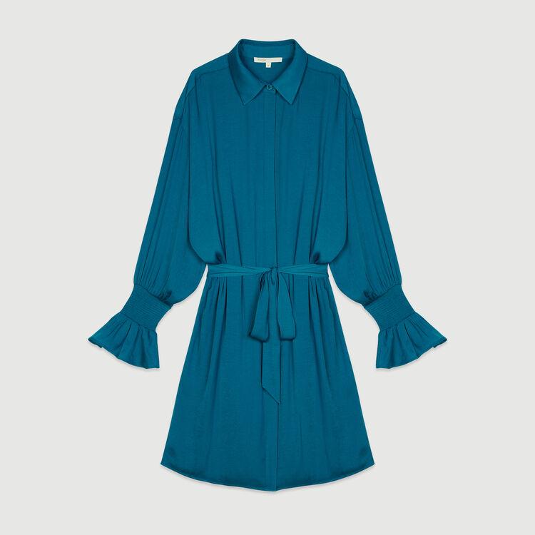 Gesmoktes Hemdkleid : Kleider farbe Blau