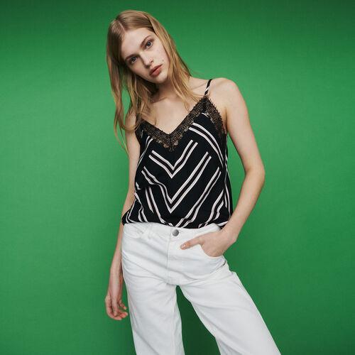 Spitzen-Unterhemd mit Streifenmuster : Tops & Hemden farbe Gestreift