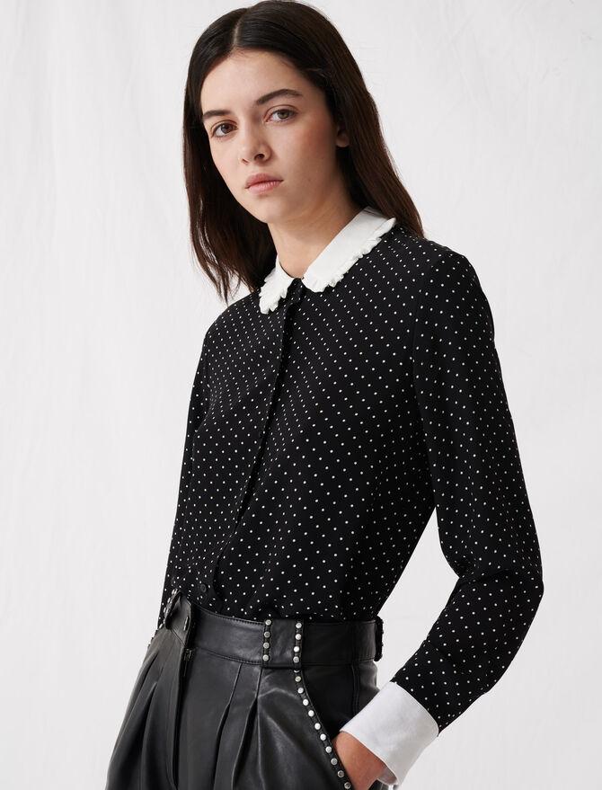 Retro-Punktbluse mit Kontrastkragen - Tops & Hemden - MAJE