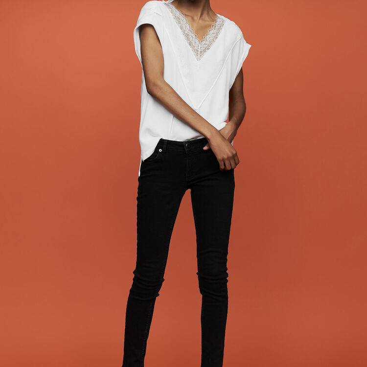 Oversize-Top mit Spitze : Tops farbe Weiss