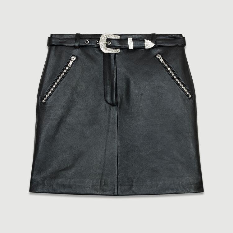 Kurzer Lederrock : Leder farbe Schwarz