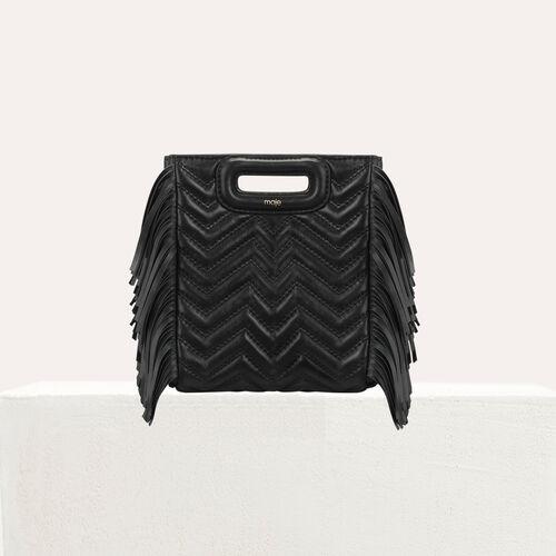 Mini-M-Tasche aus gestepptem Leder : M Mini farbe Schwarz
