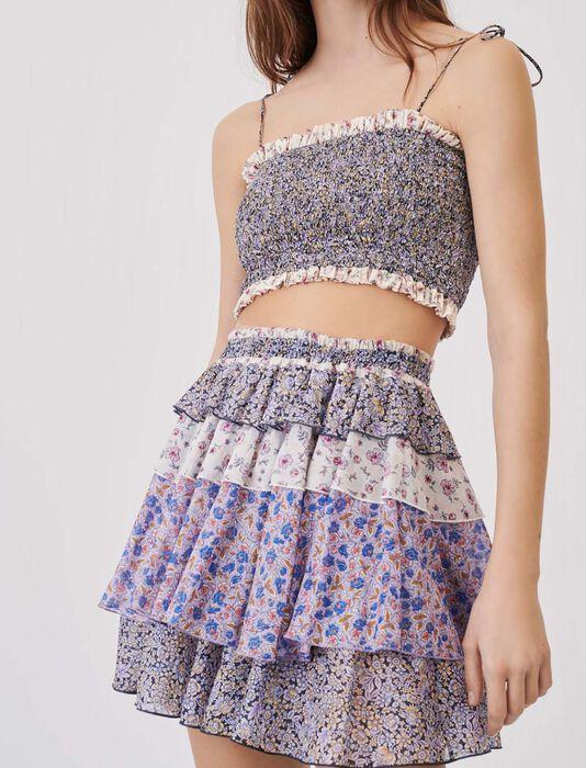 Volantrock aus bedrucktem Baumwoll-Voile : Röcke & Shorts farbe Blau