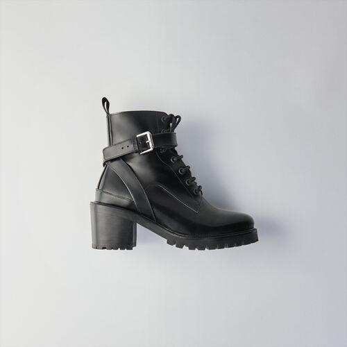 Hohe Sandalen aus Veloursleder : Stiefel & Boots farbe Schwarz