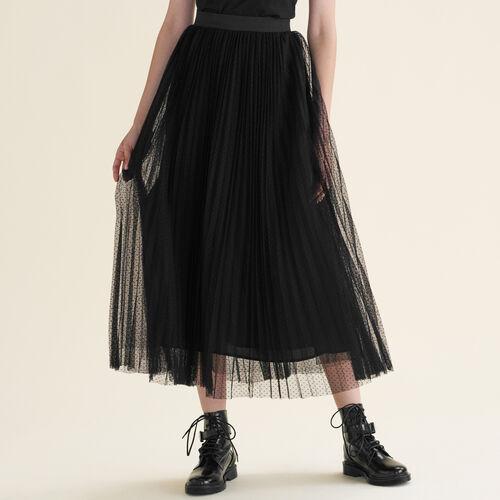 Plissierter langer Rock aus Plumetis : Jupes & Shorts farbe Schwarz