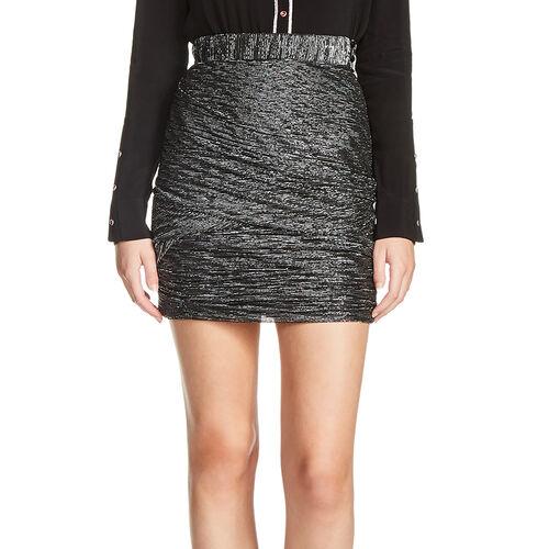 Kurzer Rock aus Lurex mit Drapiereffekt : Röcke und Shorts farbe Schwarz