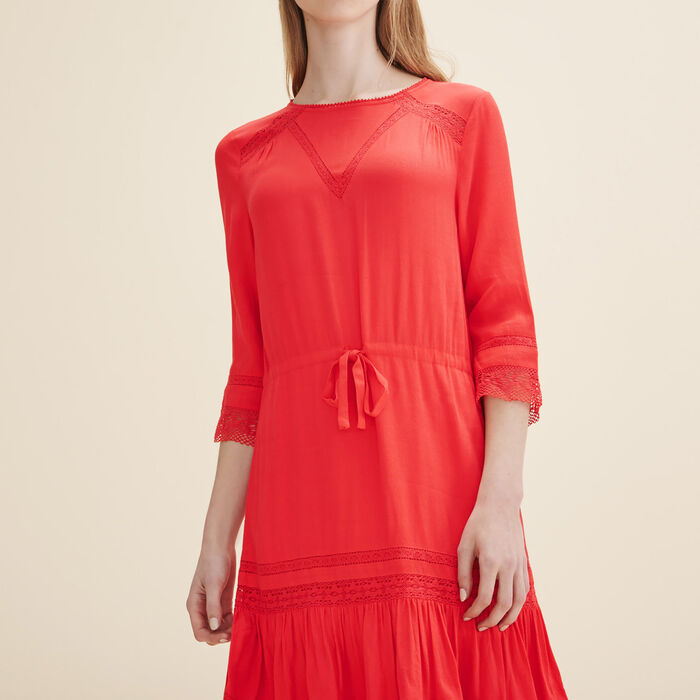 Fließendes Kleid mit Spitze - 40% off - MAJE