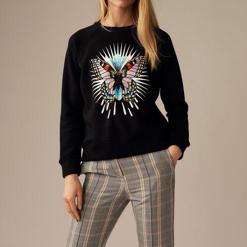 Sweatshirt mit Schmetterlingsstickerei : Strickwaren farbe Schwarz
